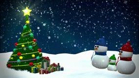 Snowmen family stock video