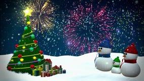 Snowmen family stock video footage