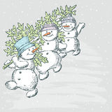 Snowmen with a fir tree royalty free illustration