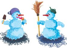 Snowmen friends Stock Images