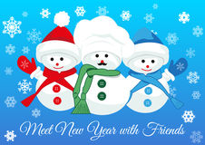 Snowmen friends greet new year Royalty Free Stock Images