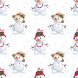 Snowmen in funny hats. Christmas seamless pattern with the image of snowmen in cartoon style. Vector colorful background Royalty Free Stock Photography