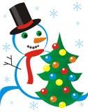 Snowmen and fur-tree Stock Photos