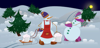 Snowmen are getting diner  banner Stock Photos