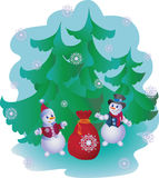 Snowmen with gifts. Vector image. Stock Photos