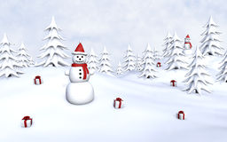 Snowmen and gifts Stock Image
