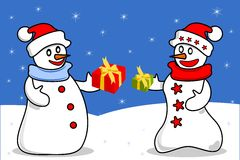 Snowmen giving presents on Christmas Royalty Free Stock Photos