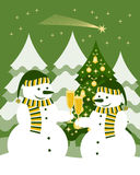 Snowmen with glasses of champagne. Pair of snowmen with glasses of champagne Stock Photo