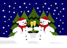 Snowmen with glasses of champagne Royalty Free Stock Photo