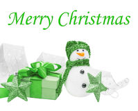 Snowmen, green gift, bow Stock Photography