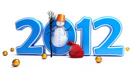 Snowmen happy new year 2012 Royalty Free Stock Photos
