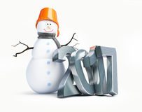 Snowmen happy new year 2017. 3d Illustration on a white background Royalty Free Stock Images