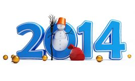 Snowmen happy new year 2014 Stock Photos