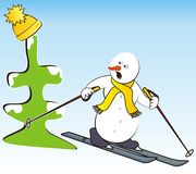 Snowmen and hat. Snowman riding on skis - humorous illustration Stock Photography