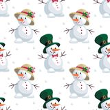 Snowmen in hats. Christmas seamless pattern with the image of snowmen in cartoon style. Vector colorful background Royalty Free Stock Photos