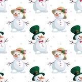 Snowmen in hats Royalty Free Stock Photos