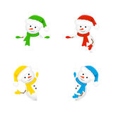Snowmen holding blank paper. Christmas theme with snowmen in Santa hats are holding a blank piece of paper, illustration Stock Image