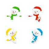 Snowmen holding blank paper Stock Image