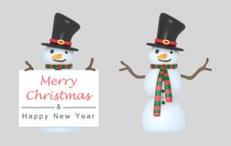 Snowmen holding a Greetings placard. 3d Illustration. Isolated. royalty free stock image