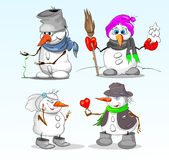 Snowmen i vinter royaltyfri illustrationer