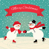 Snowmen Ice skating. Illustration of a couple in love snowmen skating Royalty Free Stock Photography