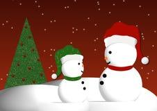Snowmen Illustration. Adult snowman with child snowman illustration royalty free illustration