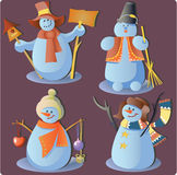 Snowmen In Group Royalty Free Stock Images
