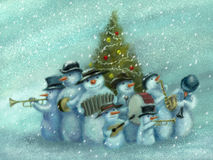 Snowmen jazz band Stock Photo