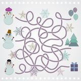 Snowmen labyrinth game for Preschool Children. vector Royalty Free Stock Photos