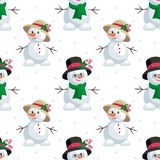 Snowmen a lady and gentleman Royalty Free Stock Photo