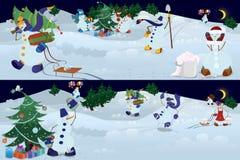 Snowmen living in magic forest Stock Photos