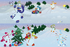 Snowmen living in magic forest  morning Royalty Free Stock Photo