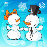Snowmen in love on abstract background - vector Stock Photos