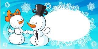 Snowmen in love banner - vector Royalty Free Stock Photo