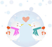 Snowmen in love couple Stock Photography