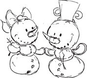 Snowmen in love sketch - vector Royalty Free Stock Photos