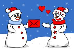 Snowmen in love Royalty Free Stock Images