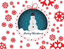 Snowmen merry christmas illustration card Royalty Free Stock Images