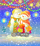 Snowmen. Multicolored Card. Snowmen at Christmas garland Stock Image