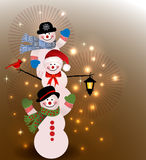 Snowmen at night Royalty Free Stock Photos