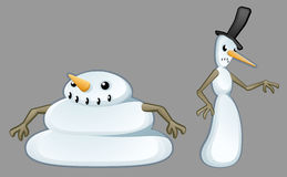 Snowmen Pair Cartoon Royalty Free Stock Image
