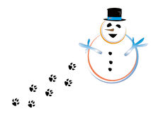 Snowmen and paw Stock Photos