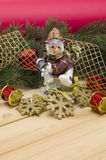 Snowmen, pine branches and toys. Stock Images