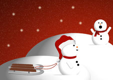 Snowmen playing. A pair of snowmen playing in the snow Royalty Free Stock Photos