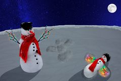 Snowmen Playing Royalty Free Stock Photography
