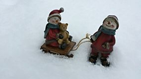 Snowmen playing Royalty Free Stock Images