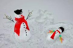 Snowmen Playing Royalty Free Stock Photo