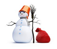 Snowmen red bag Royalty Free Stock Photography