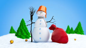 Snowmen red bag fir tree Stock Image