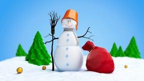 Snowmen red bag fir tree. Snow men red bag fir tree Stock Image